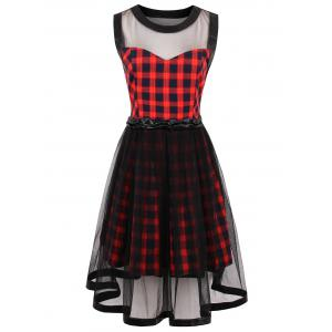 Tartan Print Sheer Yarn Insert Flared Dress