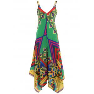 Asymmetrical Printed Cami Palazzo Jumpsuit - COLORMIX 2XL