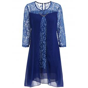 Sheer Lace Insert Mini Shift Dress - DEEP BLUE XL