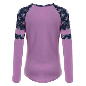 Raglan Sleeve High Low Floral T-shirt - LIGHT PURPLE S