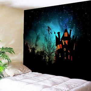Waterproof Halloween Witch Printed Wall Hanging Tapestry - BLACK W71 INCH * L71 INCH
