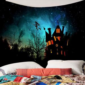 Waterproof Halloween Witch Printed Wall Hanging Tapestry - BLACK W79 INCH * L71 INCH