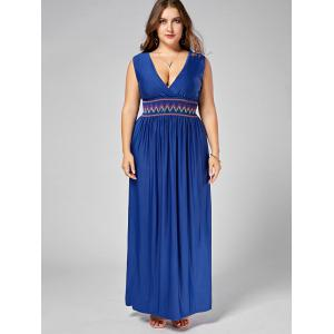 Embroidered Plus Size Maxi Low Cut Party Dress -