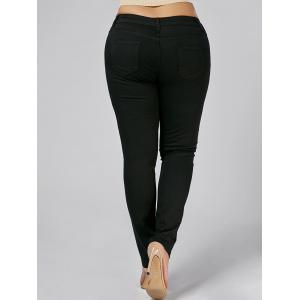 Plus Size Embroidered Tight Jeans -