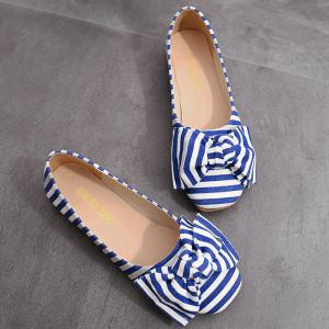 Chaussures plates à rayures à bout rond -