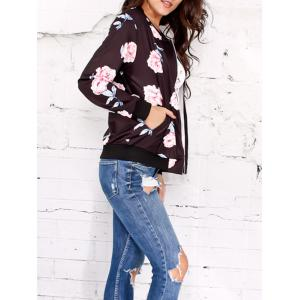 Zippered Carnation Print Jacket -
