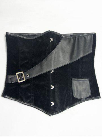 Best Faux Leather Insert Velvet Waist Corset - S BLACK Mobile