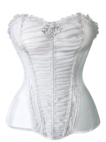Cheap Ruch Mesh Insert Corset Top - 2XL WHITE Mobile