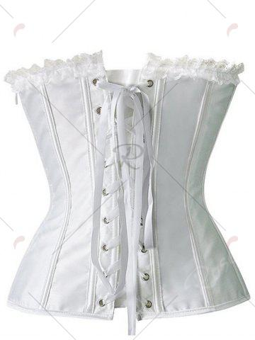 Outfit Ruch Mesh Insert Corset Top - 2XL WHITE Mobile