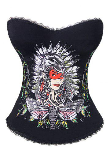 Shop Tribal Print Steel Boned Corset Top - S BLACK Mobile
