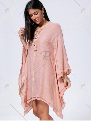 Unique Lace Up Batwing Sleeve Oversized Kaftan Dress - L CAMEO Mobile