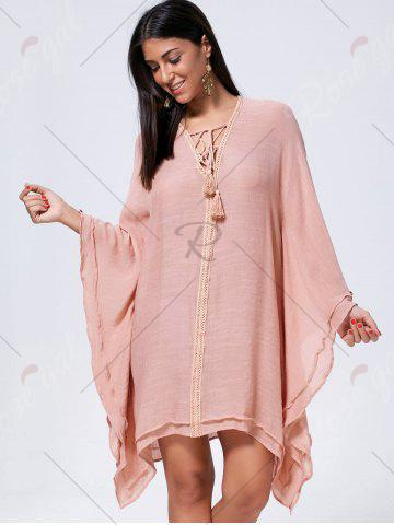 Unique Lace Up Batwing Sleeve Oversized Kaftan Dress - M CAMEO Mobile