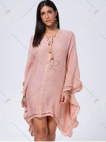 Best Lace Up Batwing Sleeve Oversized Kaftan Dress - M CAMEO Mobile