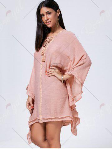 Affordable Lace Up Batwing Sleeve Oversized Kaftan Dress - M CAMEO Mobile
