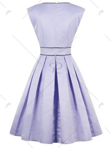 New High Waist Faux Satin Sleeveless Vintage Dress - S LAVENDER FROST Mobile