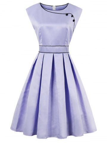 High Waist Faux Satin Sleeveless Vintage Dress - Lavender Frost - L