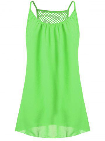 Spaghetti Strap Chiffon Mini Shift Dress - Neon Green - M