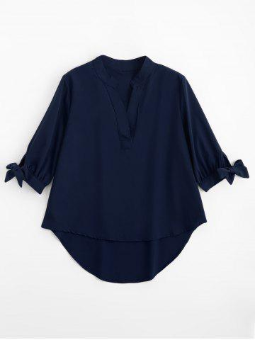 Asymmetric High Low Tied Sleeve Blouse - Deep Blue - Xl