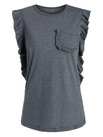 Fancy Casual Sleeveless Ruffle T-shirt GRAY S