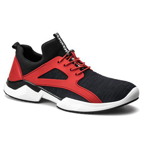 Breathable String Stretch Fabric Athletic Shoes - Red With Black - 40