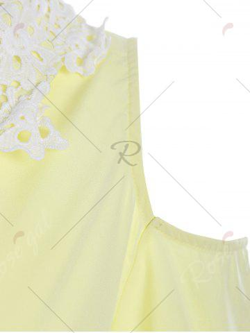 Trendy Lace Insert Cold Shoulder Flounce Dress - XL YELLOW Mobile