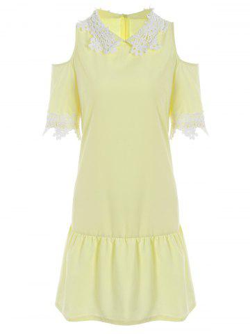Outfit Lace Insert Cold Shoulder Flounce Dress - XL YELLOW Mobile