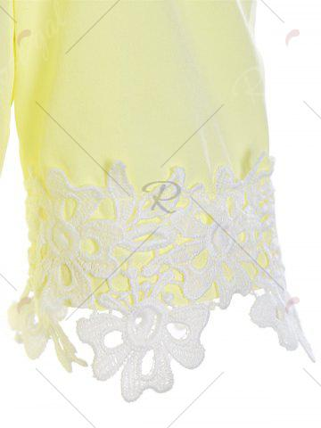 Buy Lace Insert Cold Shoulder Flounce Dress - XL YELLOW Mobile