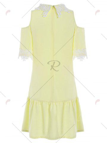 Chic Lace Insert Cold Shoulder Flounce Dress - XL YELLOW Mobile