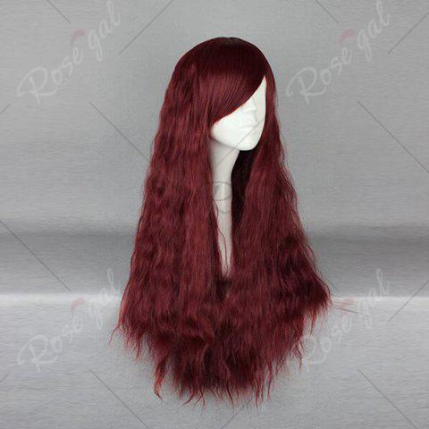 Shop Long Inclined Bang Fluffy Yaki Straight Synthetic Wig - WINE RED  Mobile
