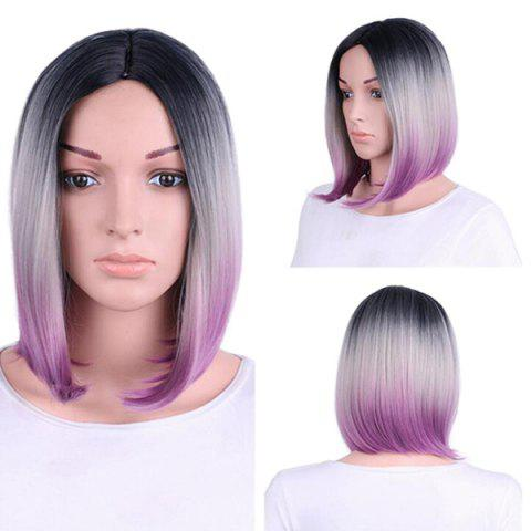Short Middle Part Straight Bob Colormix Synthetic Wig - Colormix - 14inch