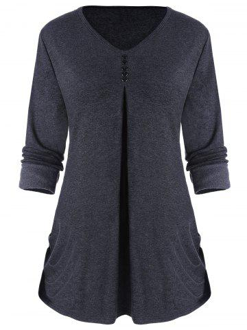 Side Ruched Long Sleeve Top with Buttons - Deep Gray - 2xl