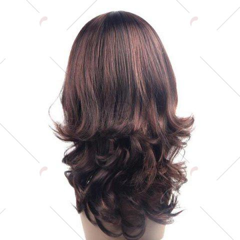 Cheap Long Layered Middle Part Wavy Synthetic Wig - BROWN  Mobile