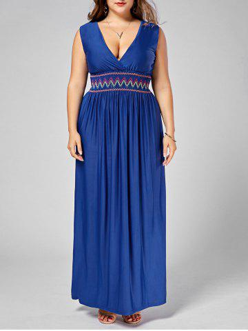 Embroidered Plus Size Maxi Plunging Neck  Evening Dress - Blue - 6xl