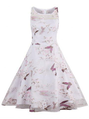 Affordable Butterfly Floral Print Organza Skater Dress - S WHITE Mobile