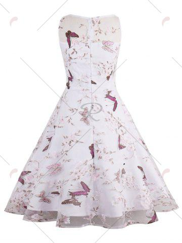 Hot Butterfly Floral Print Organza Skater Dress - S WHITE Mobile