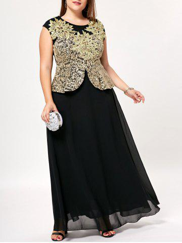 Plus Size Floor Length Floral Peplum Dress - Black - 4xl