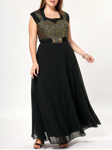 Latest Bowknot Cap Sleeve Floor Length Plus Size Dress