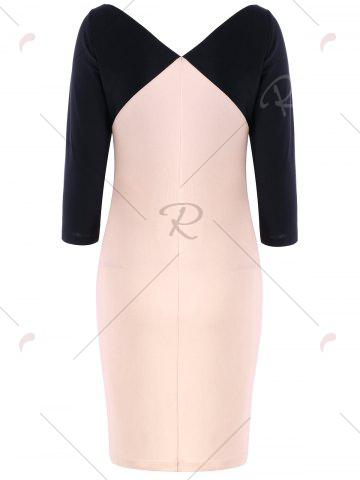 Chic Formal V Neck Two Tone Bodycon Dress - M BLACK AND PINK Mobile