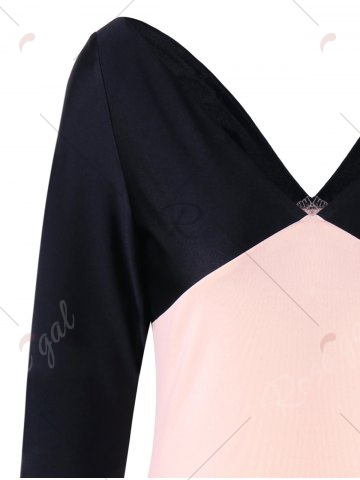 Discount Formal V Neck Two Tone Bodycon Dress - M BLACK AND PINK Mobile