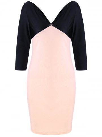 Outfit Formal V Neck Two Tone Bodycon Dress - M BLACK AND PINK Mobile