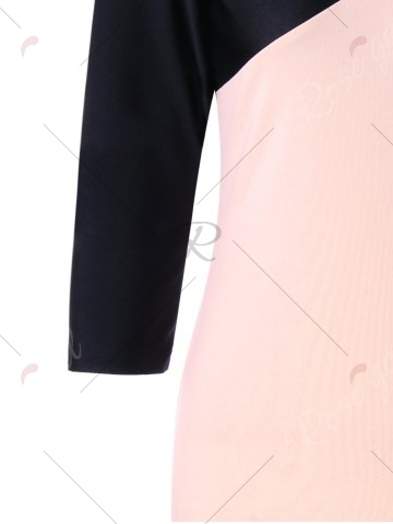 Affordable Formal V Neck Two Tone Bodycon Dress - M BLACK AND PINK Mobile