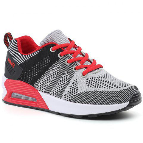 Online Air Cushion Color Block Breathable Athletic Shoes - 39 BLACK AND GREY Mobile