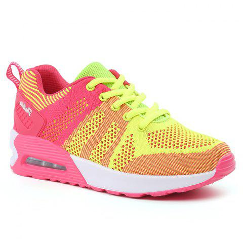 Air Cushion Color Block Breathable Athletic Shoes - Fluorescent Yellow - 38