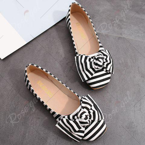 Unique Bow Striped Round Toe Flat Shoes - 38 WHITE AND BLACK Mobile