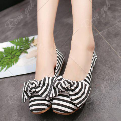 Online Bow Striped Round Toe Flat Shoes - 38 WHITE AND BLACK Mobile