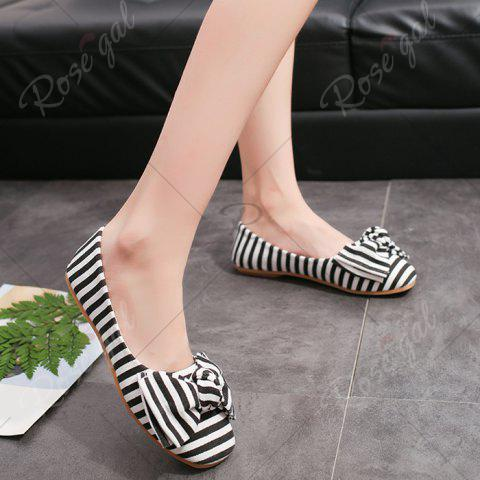 Discount Bow Striped Round Toe Flat Shoes - 38 WHITE AND BLACK Mobile
