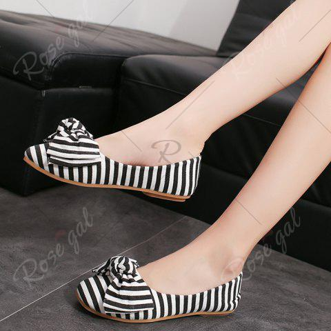 Outfits Bow Striped Round Toe Flat Shoes - 38 WHITE AND BLACK Mobile