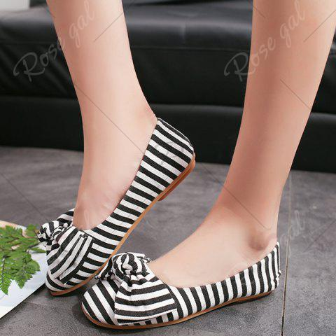 Discount Bow Striped Round Toe Flat Shoes - 39 WHITE AND BLACK Mobile
