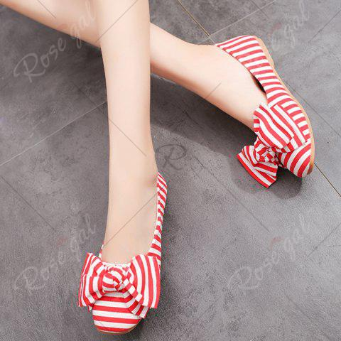 Online Bow Striped Round Toe Flat Shoes - 37 RED AND WHITE Mobile