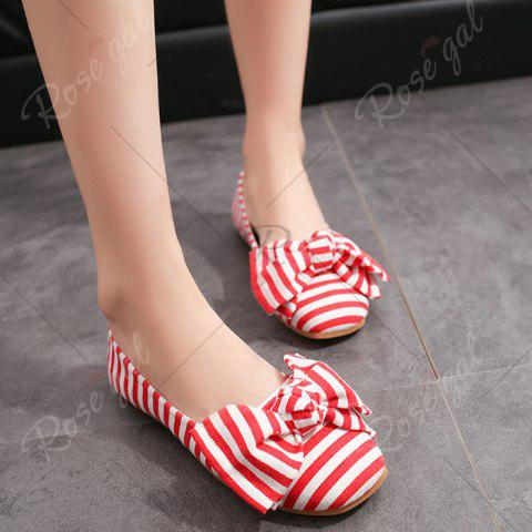 Cheap Bow Striped Round Toe Flat Shoes - 37 RED AND WHITE Mobile